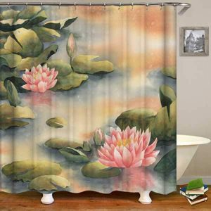 Watercolor lotus flower shower curtain