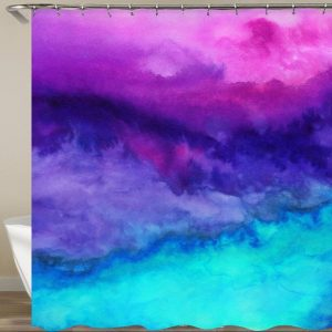 Blue turquoise pink shower curtain