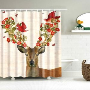 King deer shower curtain
