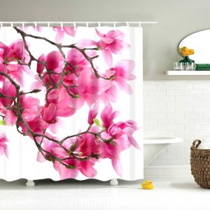 Pink flowers shower curtain 20725