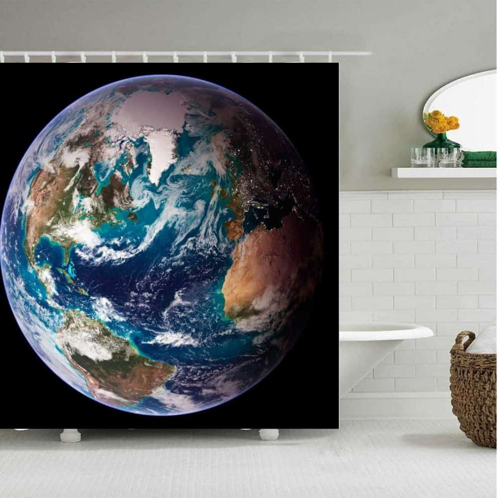 Design your own shower curtain earth