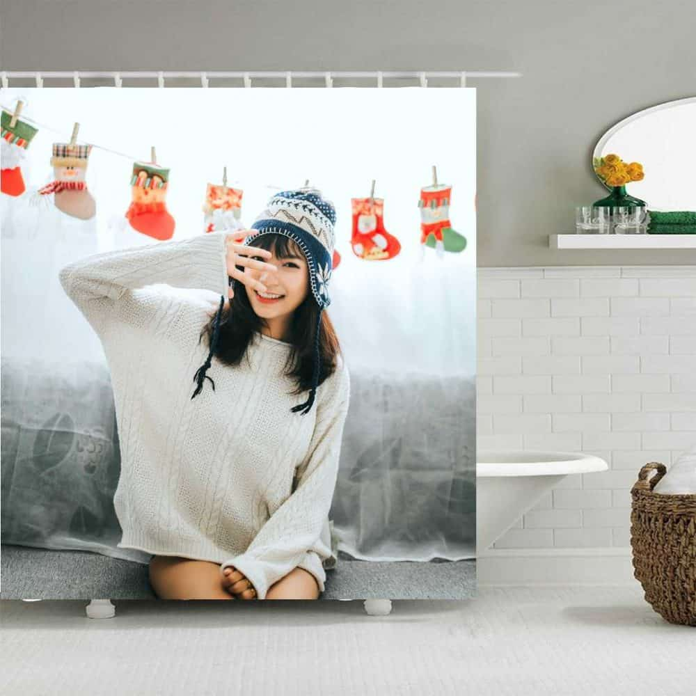 Design your own shower curtain girl